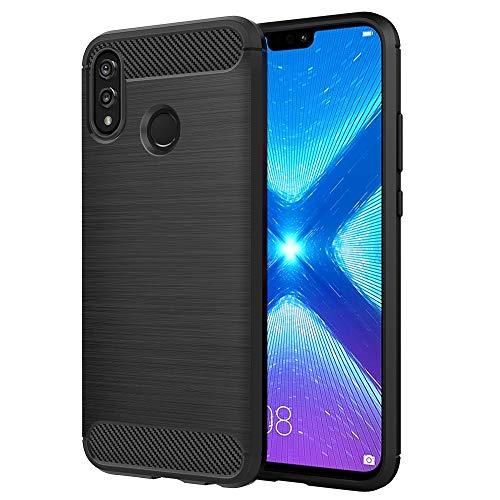 Simpeak Hülle Kompatibel mit Huawei Honor 8X, Handyhülle Premium Weiche Silikon Carbon Faser Elastisch Schützendes Kompatibel für Honor 8X [Fallschutz] [rutschfest] [Kratzfest] - Schwarz