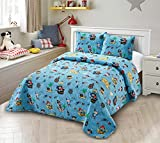 Smart Linen Pirate Bay Kids Quilt Coverlet Bedspread Bedding Set for Children Toddlers Boys Blue Pirates Parrot Ship Treasure Box Map New # Pirate Bay (Full/ Queen)