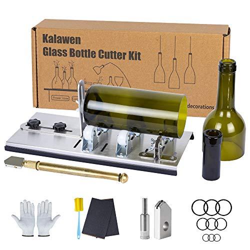 Kalawen Flaschenschneider 5 Verstellbares Rad Glasschneider für Flaschen Set Edelstahl Bottle Cutter DIY-Werkzeug zum Schneiden von runden Flaschen und Flaschenhals