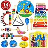 kingdous Kids Musical Instruments Sets Toys, Baby Musical Toys Percussion Instruments, Preschool Educational Early Learning Wooden Toys with Storage Bag for Kids Baby Babies Children Boys and Girls