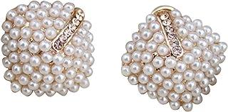 Fangfeen 1 Pair Crystal Rhinestone Pearl Stud Pearl Earring,Crystal Earrings,Rhinestone Earrings Women Vintage Earrings Wo...