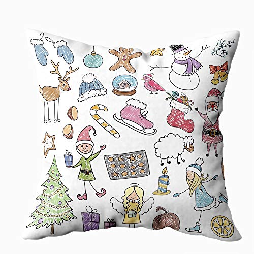Jacrane Christmas Throw Pillow Covers,Christmas Drawings 18X18 Inch Pillow Cases Farmhouse Décor Gifts for New Home