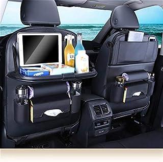 Sillas de coche y accesorios Bolsa de almacenamiento Protección de cuero de LA PU Soporte de tejido Asiento del respaldo Asiento Kick Mat Puerto USB Organizador Accesorios para automóviles Negro-PG09