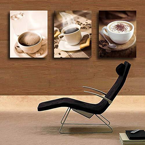 MMLFY 3 decoratieve schilderijen 40 cm x 60 cm x 3 stuks gratis verzending 3 stuks muurkunst hete kop koffie thee voor avondeten modern wandschilderij wooncultuur kunst afbeelding op canvas