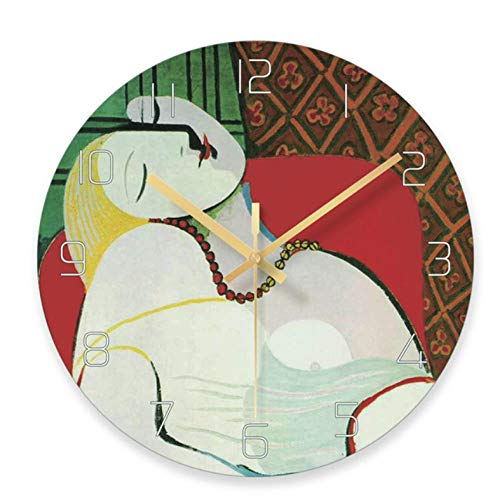 Orologio da Parete Soggiorno Orologio da casa Muto Orologio al Quarzo Creativo Vetro Artistico Camera da Letto Nera Orologio da Parete Orologio da Donna 12 Pollici