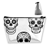 Set Mexican Sugar Skull Large Makeup Bag Toiletry Bag for Women Cosmetic Pouch