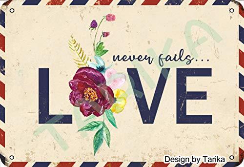 Tarika Placa decorativa de metal para el Día de San Valentín con texto en inglés 'Love Never Fails' (20,3 x 30,4 cm)