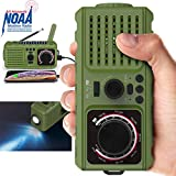 Emergency Radio - NOAA Weather Portable Radio with AM/FM 2200mAh Power Bank USB Charger LED Flashlights Solar Hand Crank and SOS Alarm – Survival Disaster Kit for Camping Hurricane Supplies - Green