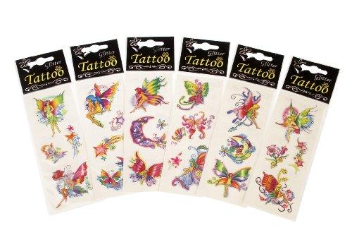 12 Paquets des Tatouages Temporaires - Design des Fées (12 Packets Fairy Tattoos)