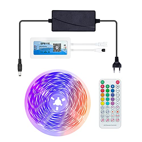 Tiras LED 5M, Luces LED RGB APP Control Remoto Bluetooth, 90 LED Tira De Luz Ajuste De La Hora Y Modo De Música, Decoración Para Habitación Fiestas Bar Salón