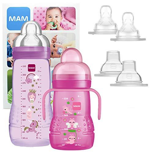 MAM Training Bottle Set, regalos para bebés de +4 meses, incluye 1 biberón Trainer (220 ml) y 1 biberón Easy Active (330 ml), juego de biberones con bonitos dibujos, NIÑA (Girl)