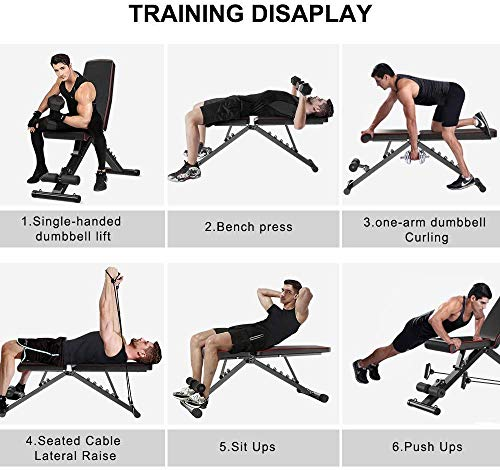 Product Image 7: Yoleo Adjustable Weight Bench, Upgrade Version- Seat/Back/Feet Adjustable, 550 lbs Capacity, Folding Flat/Incline/Decline FID Bench, Perfect for Full Body Workouts and Home Gym