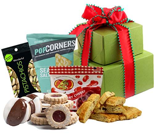 Independence Day Gift Basket Gluten Free – Holiday Gift Tower with Gourmet Biscotti, Cookies, Sweets, Fruit & Nuts [Small] Prime Holiday Gift