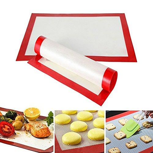 FEIDA Silikon-Backmatte, antihaftbeschichtet, hitzebeständig, für Küche, Backgeschirr, Backofen, weiß + rot