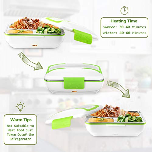YOHOOLYO Electric Lunch Box for Car and Home 110V/12V Portable Food Warm   er Food Heater with Removable Stainless Steel Container