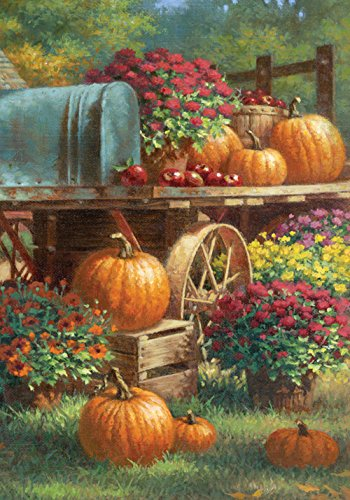 Toland Home Garden 119419 Toland-Farm Pumpkin-Decorative Harvest Fall Autumn Flower Floral Rustic USA-Produced Garden Flag