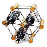 TIN-YAEN Vino Bastidores creativo Cepa Rack puede montar una variedad de modelar -Perfect for Bar, Bodega, Sótano, Gabinete, despensa, etc Decoración sistema del vino, 6 botellas de vino Decoración de