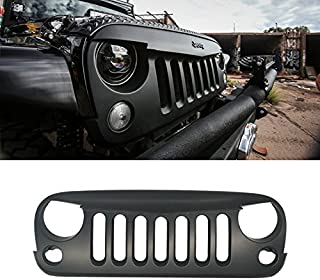 VioGi 1pc Matte Black Strong ABS Plastic Angry Bird Style Front Main Upper Grille Fit 07-15 Jeep Wrangler JK All Models