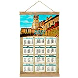 Italia Asís San Francisco Imprimir Póster Calendario de Pared 2021 12 Meses Pintura decorativa Cuadros Colgantes Lienzo Madera 20.4 'x 13.1' GL-Italy-3041