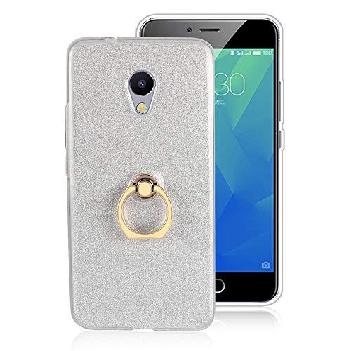 GARITANE Hülle für Meizu MX4 Pro,Bling Glitzer Handyhülle Clear Silikon Bumper Tasche Hülle Cover mit Ring Ständer Fingerhalterung (Weiß)