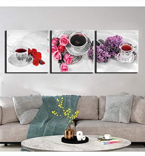 Liafa Moderne Leinwand Wandkunst 3 Stücke Stillleben Tee Bilder Hd Gedruckt Malerei Poster Für Wohnzimmer Moderne Kunst Dekoration