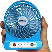 Innobay 4-inch Mini Handheld Portable USB Fan Powered by 18650 Lithium Rechargeable Battery (2200mAh Capacity), 4 Vanes, 3 out of 4 Switches for Wind Speeds Control 1 Switch of Led Light, Charged by 5V 1A Adapter or Micro USB Cable via USB Port of Notebook/ Computer, Portable Cooling Solution, Quiet Fan for Indoor and Outdoor Activities as Camping, Hiking, Backpacking, Biking, Paddling, Rock Climbing, Boating, Fishing, Aviation and More (Blue)