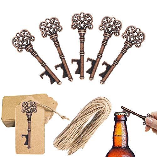 ZJW 50 stücke Antik Schlüssel Flaschenöffner - Hochzeit Gefälligkeiten Bieröffner, DIY Kraftpapier Geschenkanhänger, Weihnachten Party Bankett Bar Liefert Vintage Style Dekoration