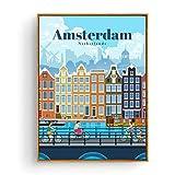 Turismo Amsterdam Bangkok Barcelona Berlín Cartel Pintura Arte Cartel Impresión Lienzo Decoración para el hogar Cuadro Impresión de la pared-50x70cm Sin marco