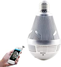 Zenly 3MP Bulb Light Wireless IP Camera Panoramic Wi-Fi Fisheye Lamp Camera 360 Degree Mini Home CCTV Surveillance Cameras