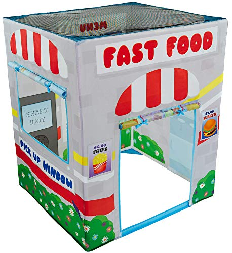 Kids Play Tent with Fast Food Drive Thru - Kid Tent for Indoor or Outdoor Pretend Play - Toddler Tent for Kids Boy or Girl - Great Gift for Girl or Boy - Drive Through Market Stand Playtent Playhouse