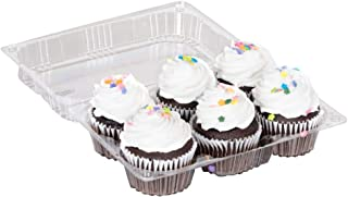Disposable Cupcake Tray Plastic Clamshell Design Container with Lid Holds 6 Cup Cakes or Muffins (50 Pack)