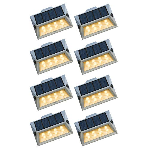 Roopure【Newest Version Warm 8 LED】Solar Step Lights Waterproof IP65 Solar-Powered Deck Lights Outdoor Ambiance Warm White Lighting for Stairs Decks Wall Paths Patio Garden Yard Auto On/Off 8 Pack