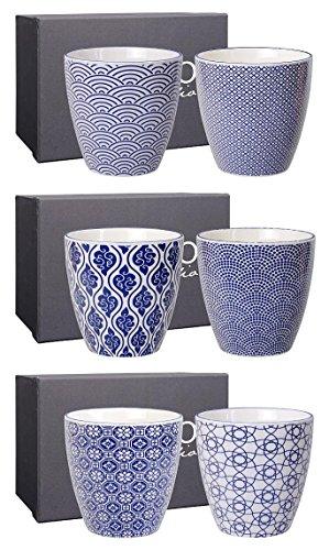 TOKYO design studio, Nippon Blu, 6 Tazza Set Senza Manico, 8,2 cm, Ø 7,5 Centimetri, 200 ml, Porcellana