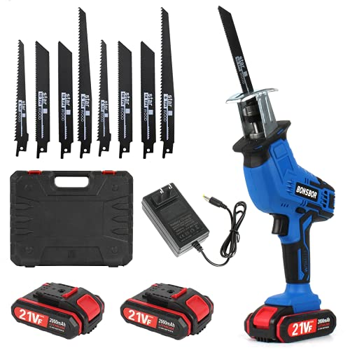 Cordless Reciprocating Saw 21V, BONSBOR Electric Reciprocating Saw with 2 Rechargeable Li-ion Batteries - US Plug Charger, Saw Blades and Carrying Case (Blue)
