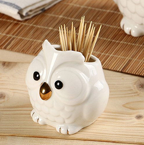 YOURNELO Cute Ceramic Owl Toothpick Pen Pencil Holder Desk Organizer Accessories (Toothpick Holder)