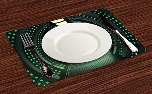 Lunarable Outer Space Place Mats Set of 4, Hallway of The Spaceship with Futuristic Elements and Round Ceiling Design, Washable Fabric Placemats for Dining Room Kitchen Table Decor, Grey Green