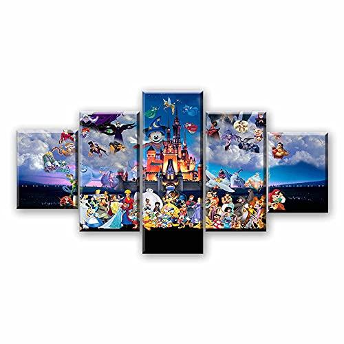 YUXIXI Cuadros Decoracion Salon 5 Piezas Modernos Impresión De Imagen Pegatinas Digitalizada Decorativo Dormitorio Estilo Dibujos/Cartel del Parque De Atracciones Nocturno 150x80cm