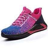 UCAYALI Zapatillas Seguridad Mujer Deportivas Bota de Hombre Zapatos Deportivos Botas Trabajo Comodos Ligeros Bambas para Correr Ligeras Rosa roja Talla 40
