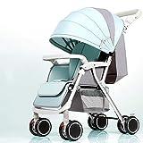 Cylficl Recién Nacido Cochecito de bebé en Las Cuatro Ruedas Amortiguador Ligero Plegable Cochecito Puede Sentarse y reclinación (Color : Green)