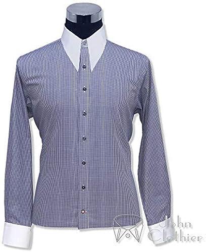 1940s Années 1950 Hommes Pointe Col Pointu T-Shirt Vichy Bleu voiturereaux Vintage Style Antique Manches Longues 100% Cotton Relax Compatible avec 200-16