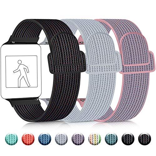 3 Pack Kompatibel mit Apple Watch Armband 38mm 42mm 40mm 44mm, Nylon Ersatzband Einstellbares Leichtes Atmungsaktives für die iWatch Serie 5 4 3 2 1 (01 Black Sand/Seashell/Pink Sand, 42mm/44mm)