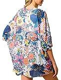 Camisola de Playa para Mujer Cardigan Corto Manga Media Pareos Cubrir Bikini Kimono Estampados de Flor Bikini Cover Up Protector Solar Traje de Baño de Playa para Chica (Flor 10, M)