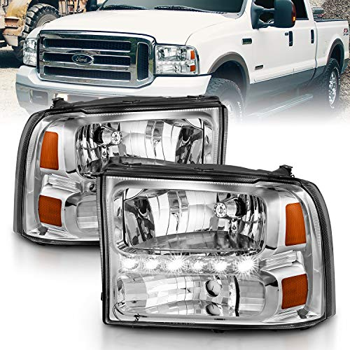 AmeriLite Chrome Replacement Headlights Assemblies LED Parking Lamp Set for 1999-2004 Ford Super Duty / 00-01 Excursion - Passenger and Driver Side