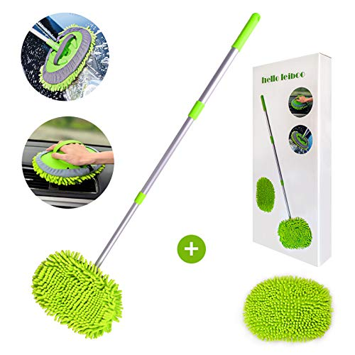Helloleiboo 2 in 1 Car Wash Brush Kits Extension Mop with Long Handle Chenille Microfiber Mitt Car Detailing Kit Cleaning Kit