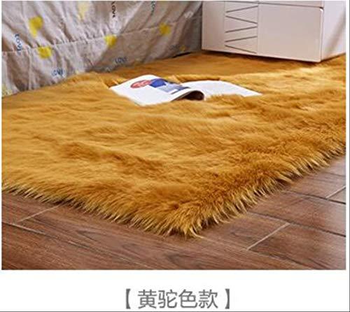 Axnx Tapijten, de vorm is eenvoudig en royaal tapijt/zitkussen, plain tapijten, wasbaar, huishoudtextiel, 60 x 120 cm, geel camel