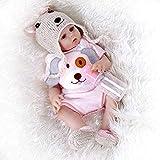 YLJXXY Poupée Renaissante à la Main, Poupon Reborn Bébé Con Biberon, Réaliste 47CM Silicone Vinyle Reborn Baby Dolls, Cadeaux pour Enfants et Amoureux