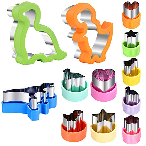 Dinosaur Sandwich Cutter Set, 12 pieces, Including 3 Sandwich Cutters, 9 Vegetable Cutters, DIY Cookie Cutter Molds for Kitchen And Baking, Kids Dinosaur Theme Birthday Party Supplies Favors