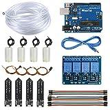 WayinTop Sistema de Riego Automático DIY Kit para Arduino, Desarrollo Placa + 4 Canal 5V Relé + 4pcs Sensor de Humedad del Suelo + 4pcs Mini Bomba de Agua DC 3V 5V + 5M Tubería Agua PVC + Jumper Cable