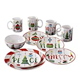 American Atelier Holiday Dinnerware Set – 16-Piece Christmas-Themed Stoneware Dinner Party...