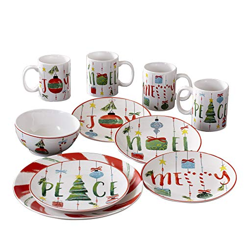American Atelier Holiday Dinnerware Set – 16-Piece Christmas-Themed Stoneware Dinner Party Collection w/ 4 Dinner Plates, 4 Salad Plates, 4 Bowls & 4 Mugs – Unique Gift Idea for Christmas or Birthday